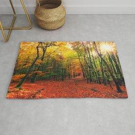 Serene Autumn Forest landscape Rug