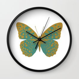 Teal Butterfly Wall Clock