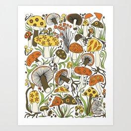 Hand-drawn Mushrooms Art Print