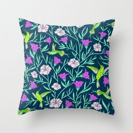 Elegant Humming Birds and Tropical Floral Print Throw Pillow