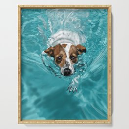 Jack Russell Terrier Swimming Serving Tray