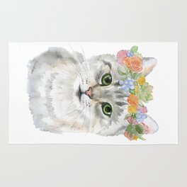 Gray Tabby Cat Floral Wreath Watercolor Rug