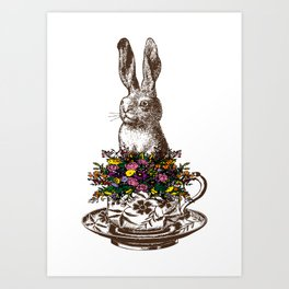 Rabbit in a Teacup | Vintage Rabbit in Tea Cup with Wildflowers | Bunny Rabbits | Bunnies | Hares | Art Print