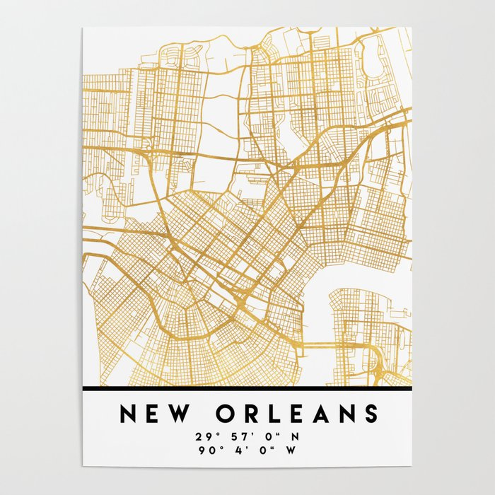 New Orleans Louisiana City Street Map Art Poster By Deificusart