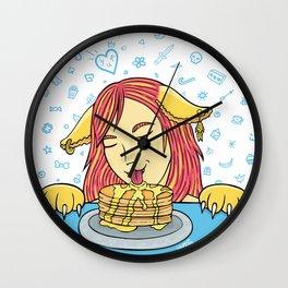 Cat Girl Pancakes Doodle  Wall Clock