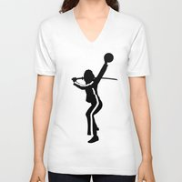 kill bill V-neck T-shirts featuring #TheJumpmanSeries, The Bride from Kill Bill by @thepeteyrich