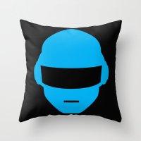 deadmau5 Throw Pillows featuring Daft Punk Thomas Bangalter Helmet by Alli Vanes