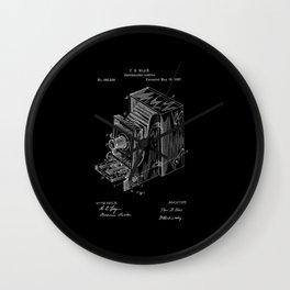 Vintage Camera Patent - White on Black Wall Clock