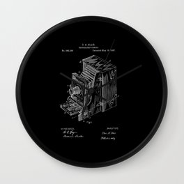 Vintage Camera Patent - White on Black Wall Clock