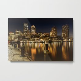 BOSTON Fan Pier Park & Skyline at night Metal Print