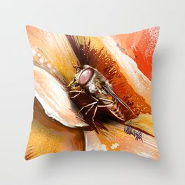 Fly on flower 8 Throw Pillow
