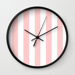 Light red pink -  solid color - white vertical lines pattern Wall Clock