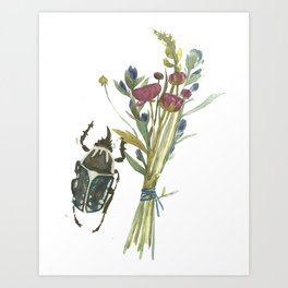 Beetle and Flowers No. 2 Art Print