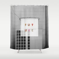 future Shower Curtains featuring Future by Widhi Astana