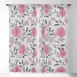 Soft and Sketchy Peonies Blackout Curtain