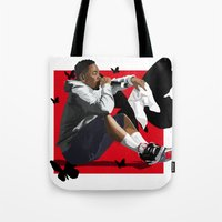 kendrick lamar Tote Bags featuring Kendrick Lamar by MikeHanz