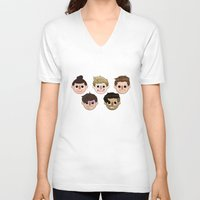 animal crossing V-neck T-shirts featuring Animal Crossing One Direction by Pinkeyyou