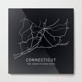 Connecticut State Road Map Metal Print