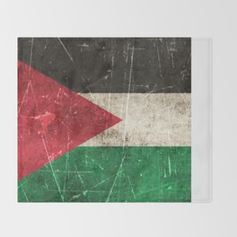 Vintage Aged and Scratched Palestinian Flag Throw Blanket