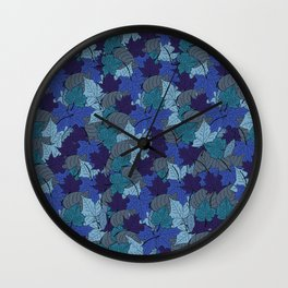 Falling Blue Autumn leaves in october decorative pattern  Wall Clock