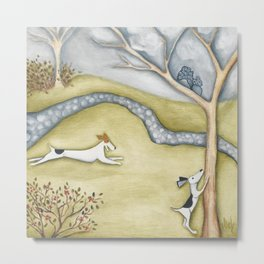 Dog squirrel landscape painting GET IT! original art Metal Print