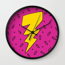 90's Retro Lightning Bolt in Hot Pink Wall Clock