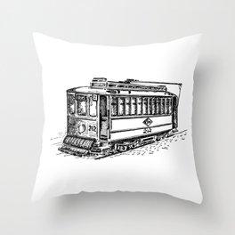City Tram Detailed Illustration Throw Pillow