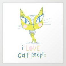I LOVE Cat People - light Art Print
