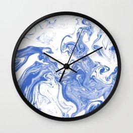 Marble Suminagashi indigo blue 2 watercolor pattern art pisces water wave ocean minimal design Wall Clock