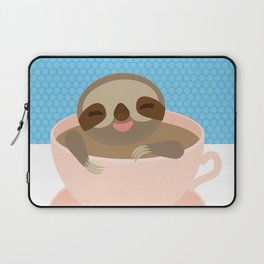Sloth in a Pink cup coffee, tea, Three-toed sloth Laptop Sleeve