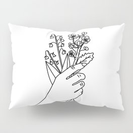 Lily of the Valley & Hawthorn Line Drawing (Birth Flower Series - May) Pillow Sham