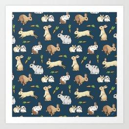 Rabbits on navy background Art Print