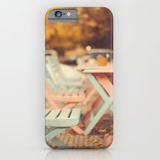 Dream Autumn (Pink and blue coffee shop chairs on retro and vintage fall) iPhone 6s Slim Case
