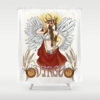 virgo Shower Curtains featuring Virgo by Michele Phillips