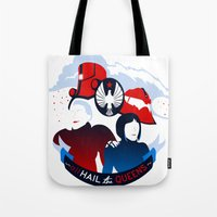 pacific rim Tote Bags featuring Pacific Rim: All Hail the Queens by MNM Studios