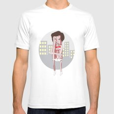Mr. Bacon White MEDIUM Mens Fitted Tee