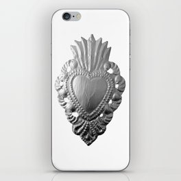 Silver milagro heart iPhone Skin