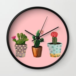 Three Cacti With Flowers On Pink Background Wall Clock