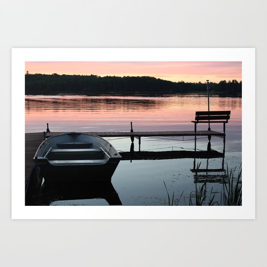 Boat and Pier Art Print