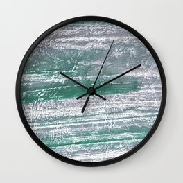 Slate gray green nebulous watercolor paper Wall Clock