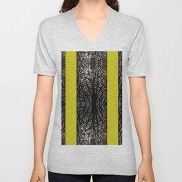 Gothic tree striped pattern mustard yellow Unisex V-Neck