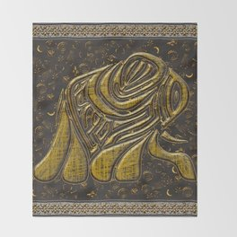 African elephant with ethnic motives Throw Blanket