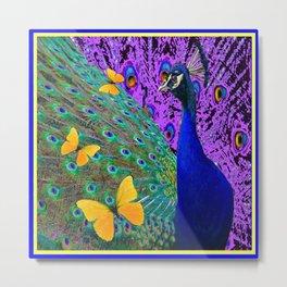 Purple-Blue Peacock  Yellow Butterflies Fantast Art Metal Print