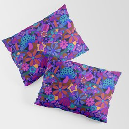 70's Psychedelic Garden in Cool Jeweltone Pillow Sham