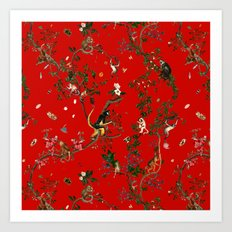 Monkey World Red Art Print