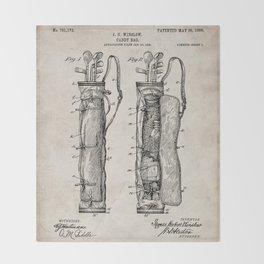 Golf Bag Patent - Caddy Art - Antique Throw Blanket