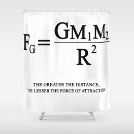 Newton's law of universal gravitation Shower Curtain