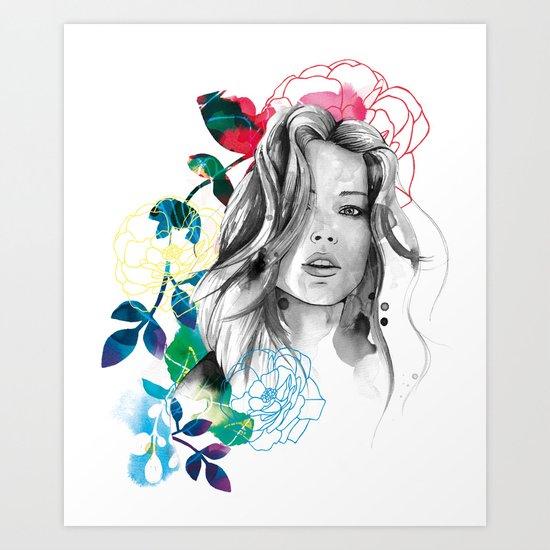 Kristen fashion watercolor portrait Art Print