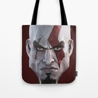 video games Tote Bags featuring Triangles Video Games Heroes - Kratos by s2lart