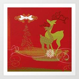 Elegance Couple Deer (Olive Green&Red) Art Print